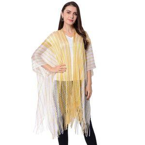Accessories - White and Yellow Stripe Pattern Kimono